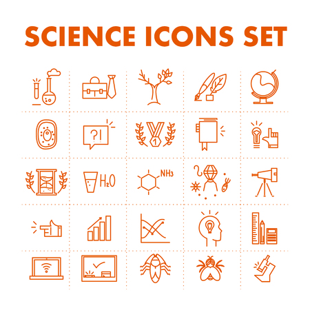 thumbnail: Vector science icon set isolated on white background. Simple art icon, logo, insignia,  emblem, symbol, brand, badge, thumbnail, pictogram, card. Flat icon concept for science, biology, entomology, virology, cytology, chemistry, laboratory, observatory, g