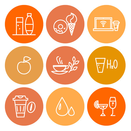 thumbnail: Vector colorful food icon set isolated on white background. Simple icon isolated, insignia, emblem, symbol, brand, thumbnail. Flat food icon concept for shops, coffee, restaurants, cards, banners.