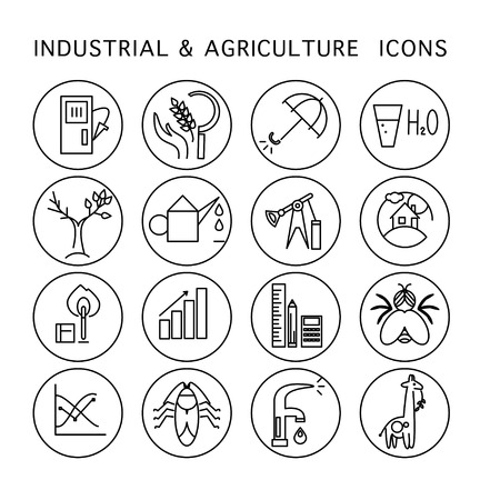agriculture icon: Vector industrial & agriculture icon set isolated on white background. Flat icon, logo, insignia, badge, symbol, brand. Simple icon concept for industrial, agriculture, ecology firm, home, science.