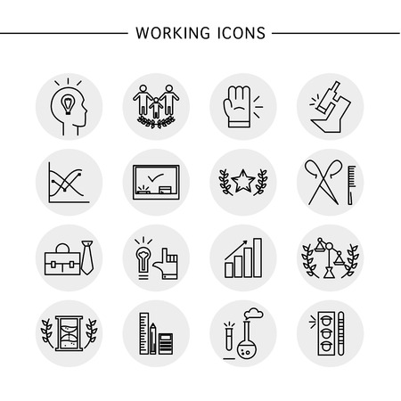 firm: Vector working icons set isolated on white background. Flat working icon, logo, insignia, symbol, brand, label, badge. Simple artistic icons for work, company group, banking, lawyer firm, education.