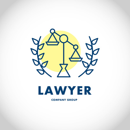 impartiality: Vector lawyer company group logo isolated on white background. Flat insignia silhouette, icon, logo, label, symbol, badge, element, sign, illustration. Design logo for lawyer company group.