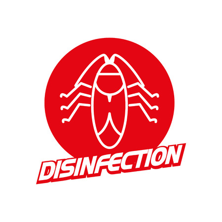disgusting animal: Vector disinfection firm logo isolated on white background. Flat red color insignia, symbol, label, icon.  Simple art logo for disinfection firm, card, illustration, icon.
