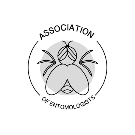 article icon: Vector association of entomologists logo isolated on white background. Flat simple insignia, symbol, label, icon. Artistic design logo for association of entomologists, illustration, article, journal.