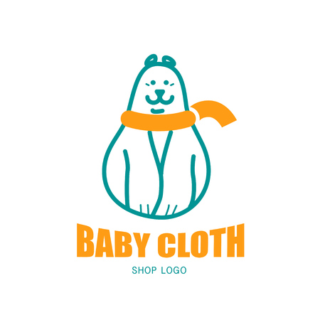 simple logo: Vector animal logo isolated on white background. Simple flat animal polar bear icon. Baby store logo.