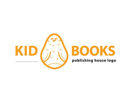 simple logo: Vector animal logo isolated on white background. Simple flat bird, owl icon. Publishing house logo.