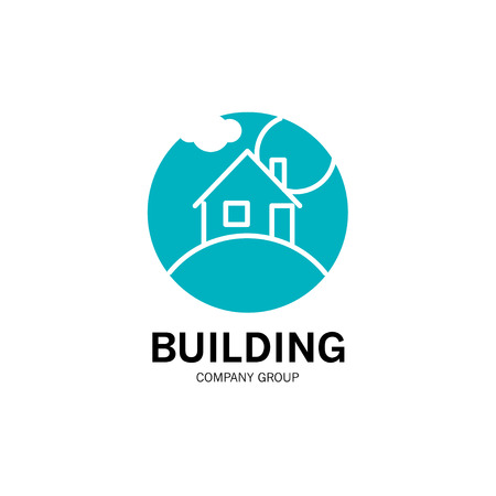 simple store: Vector building company group logo isolated on white background. Flat simple insignia silhouette. Art logo for building company, store building materials, developer firm, card, icon, banner, flyer.