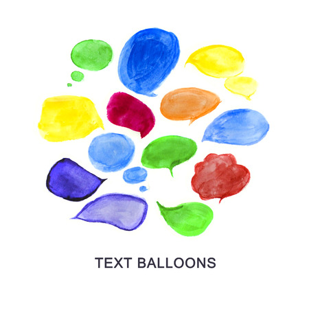speech ballons: Watercolor hand drawn artistic colorful text balloons isolated on white background. Hand drawn paints drops. Simple paint text ballons, speech box, dialog box, talk bubble, icon, chat.