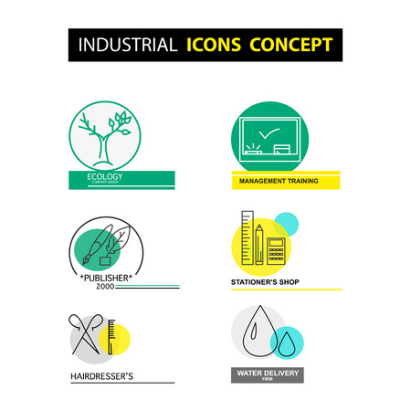 publisher: Vector industrial icon concept isolated on white background. Flat icon set, logo, insignia, symbol, brand. Artistic collection for class, publisher office, ecology firm, beauty salon, shop, profession, work.