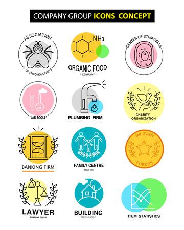 amoniaco: vector de la compañía iconos de grupo concepto aislado sobre fondo blanco. establecer plano icono, logotipo, símbolo, marca. colección artística de la ciencia, la clínica familiar, firma de banca, la organización social, laboratorio, trabajo.