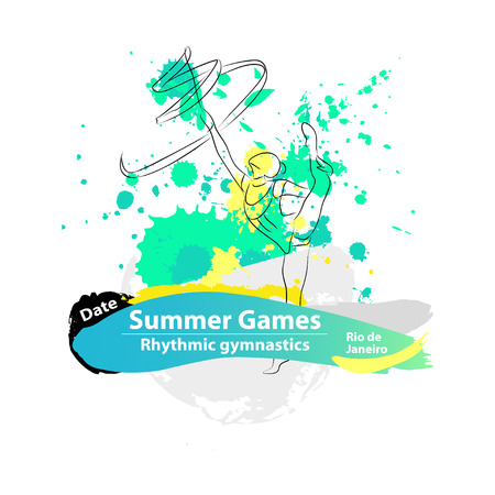 summer game: Vector artistic Rhythmic Gymnastic ribbon sketch. Hand drawn brush stroke paint drops template for summer game , graphic design, poster, banner, flayer, placard, competition. Art grange style. Illustration
