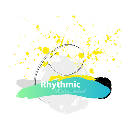 grange: Vector artistic Rhythmic Gymnastic sketch ribbon. Hand drawn brush stroke paint drops, spot, sketching for graphic design, poster, banner, flayer, placard, card, competition. Art grange style. Illustration