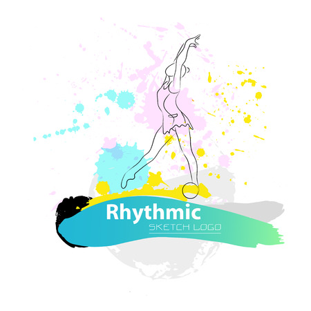 Vector artistic Rhythmic Gymnastic sketch . Hand drawn brush stroke paint drops, spot, sketching for graphic design, poster, banner, flayer, billboard, placard, card, competition.Art grange style. Illustration