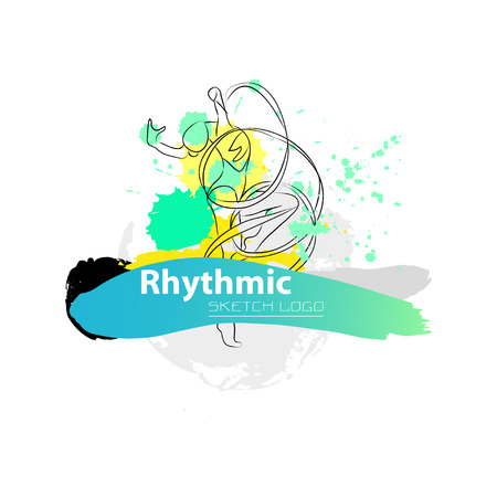 rhythmic gymnastic: Vector artistic Rhythmic Gymnastic sketch . Hand drawn brush stroke paint drops, spot, sketching for graphic design, poster, banner, flayer, billboard, placard, card, competition.Art grange style. Illustration