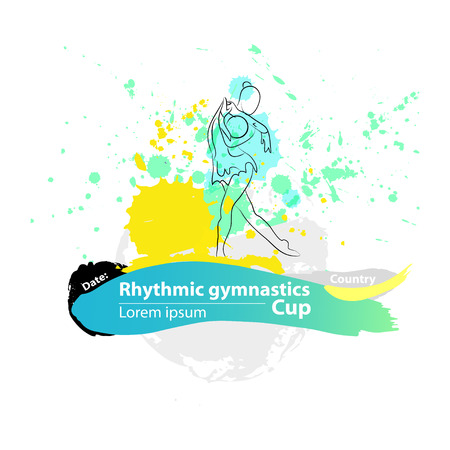 Vector artistic Rhythmic Gymnastic ball sketch banner. Hand drawn brush stroke paint drops, spot, sketching for graphic design, poster, banner, flayer, placard, card, competition. Art grange style.