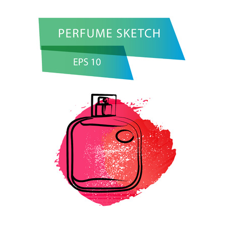 genteel: Vector artistic perfume sketch isolated on white background. ink drawn. Art gradient design paint drop, spot template for package, illustration, perfume shop, card, icon, fashion magazine.