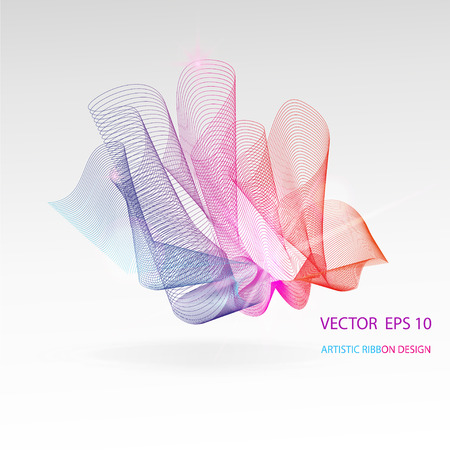 deflection: Vector artistic fractal ribbon design. Moving rainbow abstract background for poster, flayer, banner, cover, business card, presentation, Illustration. Abstract fractal concept.