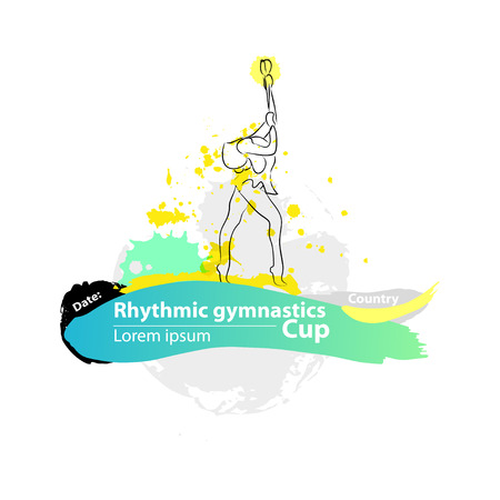 Vector artistic Rhythmic Gymnastic clubs sketch banner. Hand drawn brush stroke paint drops, spot, sketching for graphic design, poster, banner, flayer, placard, card, competition. Art grange style.