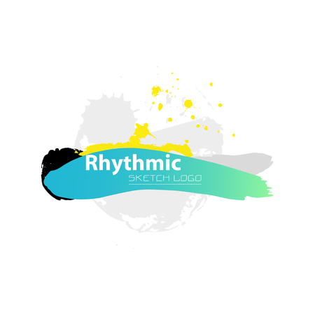 rhythmic gymnastic: Vector artistic Rhythmic Gymnastic sketch . Hand drawn brush stroke paint drops, spot, sketching for graphic design, poster, banner, flayer, placard, card, competition. Art grange style.