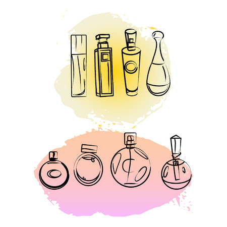 genteel: Vector artistic perfume package isolated on white background. Art colorful design paint drop collection for packing paper, illustration, perfume shop, card, backdrops, magazine. Ink drawn.