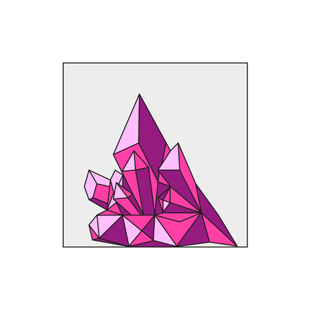 Vector artistic crystal polygonal backdrop. Art color geometric shape isolated on white background. Flat style design illustration.