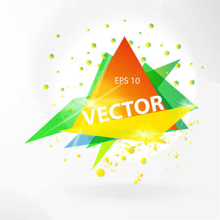 flayer: Vector abstract background template with triangle banner. Artistic gradient geometric backdrop for graphic design, poster, flayer, label, leaflet, placard. Vector fractal illustration.