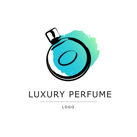 genteel: Vector artistic perfume sketch logo isolated on white background. ink drawn. Art gradient design paint drop, spot template for business card, illustration, perfume shop, label, icon, fashion magazine.