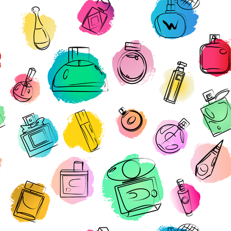 Vector artistic perfume seamless wallpaper on white background. Art design colorful paint drop wallpaper for package, illustration, perfume shop, card, backdrops, fashion magazine. Ink drawn. Illustration