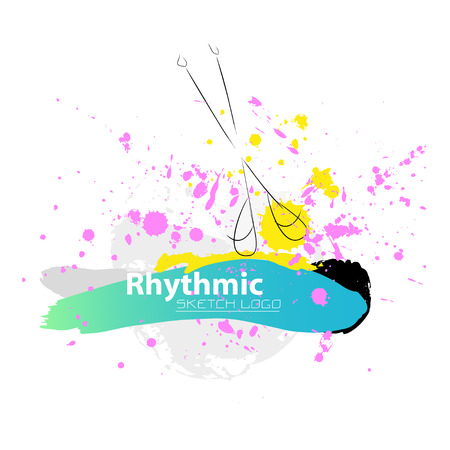 rhythmic gymnastic: Vector artistic Rhythmic Gymnastic sketch clubs. Hand drawn brush stroke paint drops, spot, sketching for graphic design, poster, banner, flayer, placard, card, competition. Art grange style.