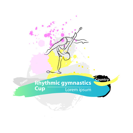 rhythmic gymnastic: Vector artistic Rhythmic Gymnastic clubs sketch banner. Hand drawn brush stroke paint drops, spot, sketching for graphic design, poster, banner, flayer, billboard, placard, card, competition. Art grange style illustration.