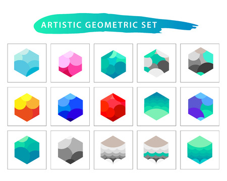 set form: Vector artistic geometric set. Flat simple colorful form collection isolated on white background. Flat art vector illustration. Illustration