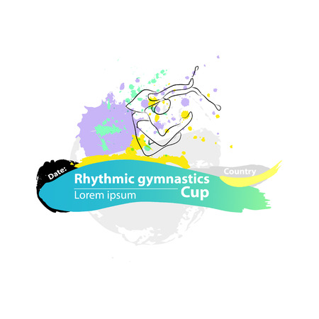 rhythmic gymnastic: Vector artistic Rhythmic Gymnastic clubs sketch banner. Hand drawn brush stroke paint drops, spot, sketching for graphic design, poster, banner, flayer, placard, card, competition. Art grange style.