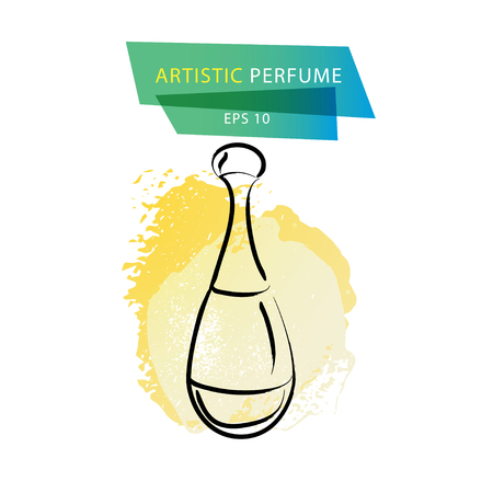 Vector artistic perfume sketch isolated on white background. ink drawn. Art gradient design paint drop, spot template for package, illustration, perfume shop, card, icon, fashion magazine.