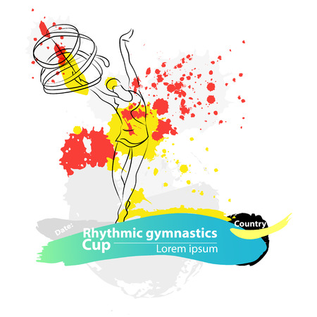 rhythmic gymnastic: Vector artistic Rhythmic Gymnastic ribbon sketch banner. Hand drawn brush stroke paint drops, spot, sketching for graphic design, poster, banner, flayer, placard, card, competition. Art grange style.