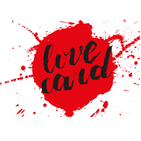 Vector artistic brush lettering composition. Phrase love card.  Hand drawing ink brush illustration Illustration