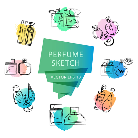 fashion magazine: Vector artistic perfume sketch isolated on white background. ink drawn. Art colorful design paint drop, spot concept for package, illustration, perfume shop, card, logo, icon, fashion magazine.