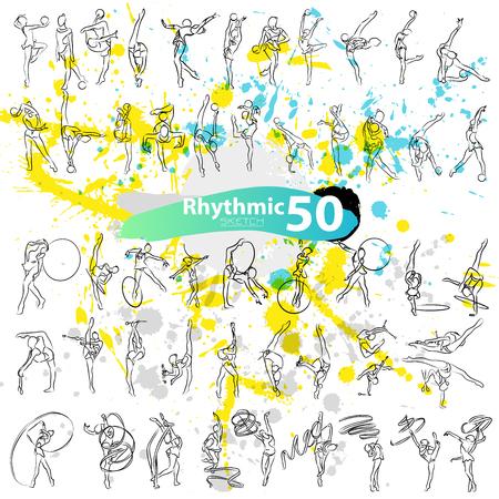 grange: Vector artistic Rhythmic Gymnastic sketch collection. Hand drawn stroke outline, sketching for graphic design, poster, banner, flayer, billboard, placard, card, competition. Art grange style illustration.