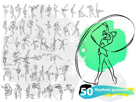 rhythmic gymnastic: Vector artistic Rhythmic Gymnastic sketch collection. Hand drawn stroke outline, sketching for graphic design, poster, banner, flayer, billboard, placard, card, competition. Art grange style illustration.
