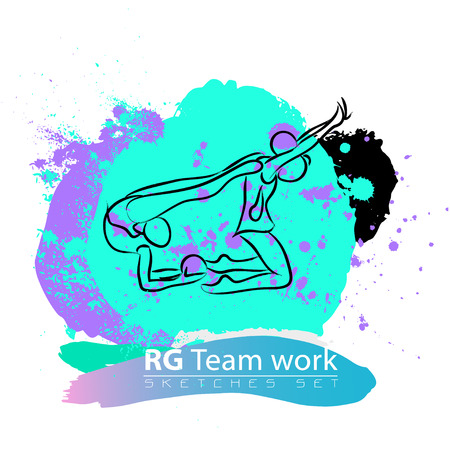 rhythmic gymnastic: Vector artistic Rhythmic Gymnastic team sketch set. Hand drawn brush stroke paint drops, spot, sketching for graphic design, poster, banner, flayer, billboard, placard, card, competition. Ink style.