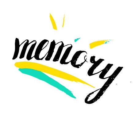 Vector artistic brush lettering composition. Word Memory.  Hand drawing ink brush illustration Illustration
