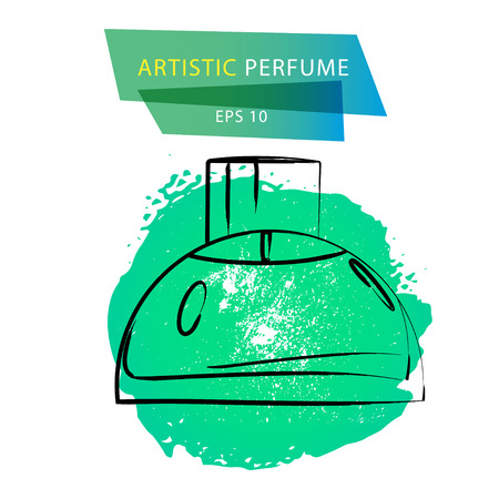 genteel: Vector artistic perfume sketch isolated on white background. ink drawn. Art gradient design paint drop, spot template for package, illustration, perfume shop, card, logo, icon, fashion magazine.