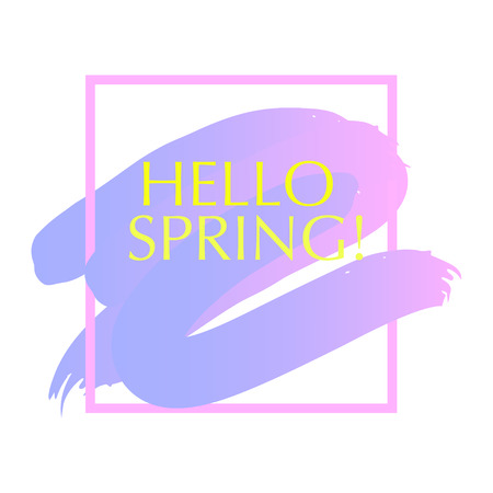 Vector artistic stroke backdrop isolated on white background. Art design concept Hello Spring. Colorful abstract gradient backdrop for lettering, card, flyer, banner, greetings, congratulation.