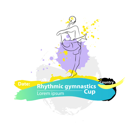 rhythmic gymnastic: Vector artistic Rhythmic Gymnastic ball sketch banner. Hand drawn brush stroke paint drops, spot, sketching for graphic design, poster, banner, flayer, placard, card, competition. Art grange style.
