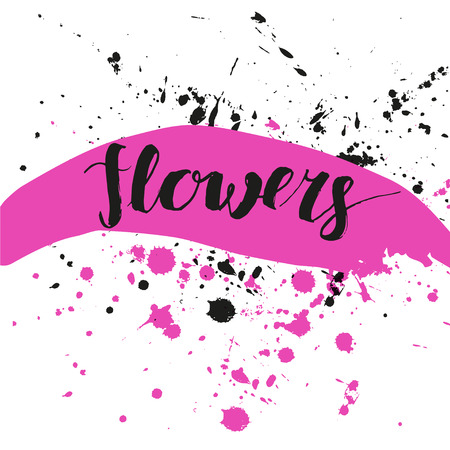 Vector artistic brush lettering composition. Colorful word flowers.  Hand drawing ink brush illustration Illustration