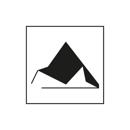 Vector triangle Mountain backdrop. Simple geometric shape outline isolated on white background. Minimal style design illustration. Stok Fotoğraf - 60475826