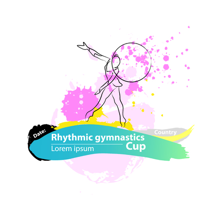 rhythmic gymnastic: Vector artistic Rhythmic Gymnastic hoop sketch banner. Hand drawn brush stroke paint drops, spot, sketching for graphic design, poster, banner, flayer, placard, card, competition. Art grange style.