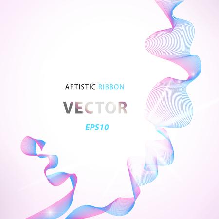 Vector artistic fractal ribbon design. Moving colorful abstract background for poster, flayer, banner, cover, business card, presentation, Illustration. Art fractal concept.