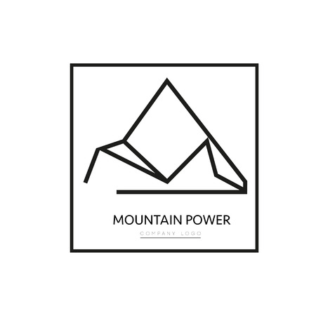 Vector triangle Mountain company . Simple geometric shape outline isolated on white background. Minimal style illustration for business company, ferm.