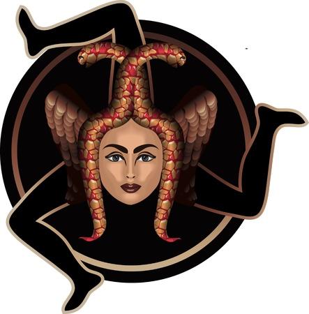 Trinacria は、イタリア シチリア島の地域のシンボルです。  イラスト・ベクター素材