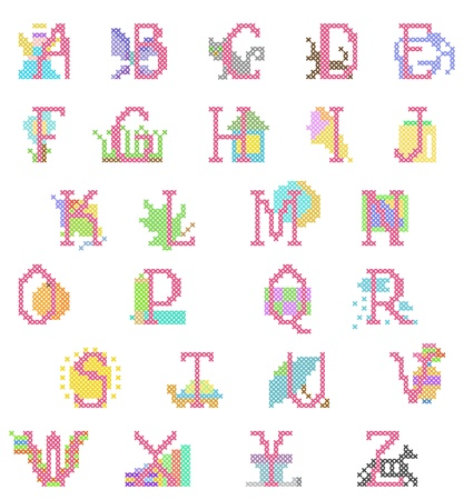 stitch-point embroidered babygirl alphabet with figures