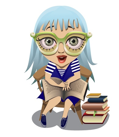 prose: cute blue-haired girlholding a large book on her knees Illustration